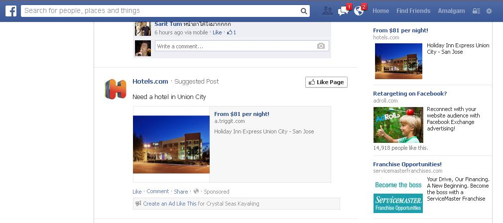 Ad from Hotels.com on my Facebook Timeline for hotels in Union City, CA.